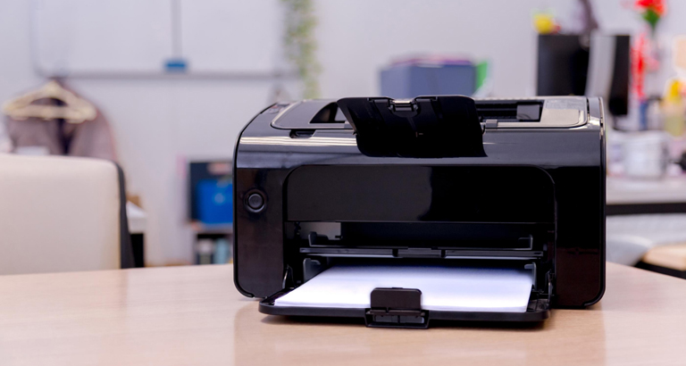 Close-up of a multifunction printer