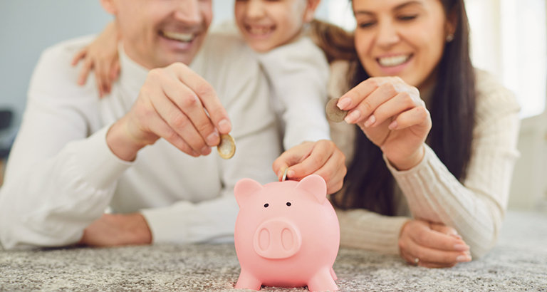 A family saving their money
