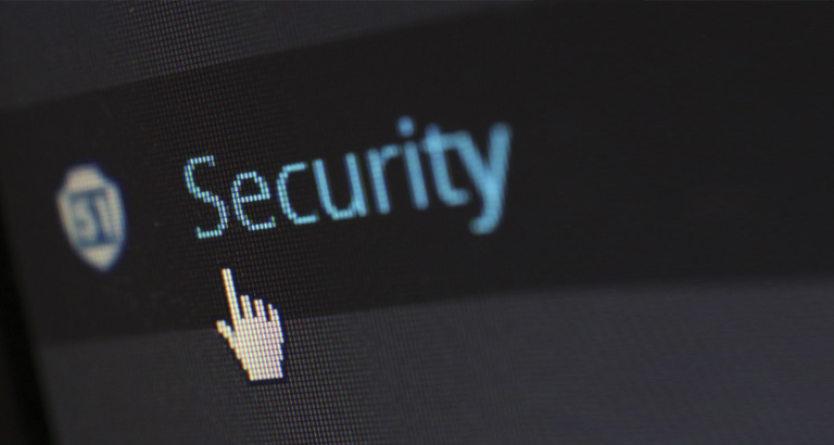 """Close-up of a cursor hovering over the word """"security"""""""
