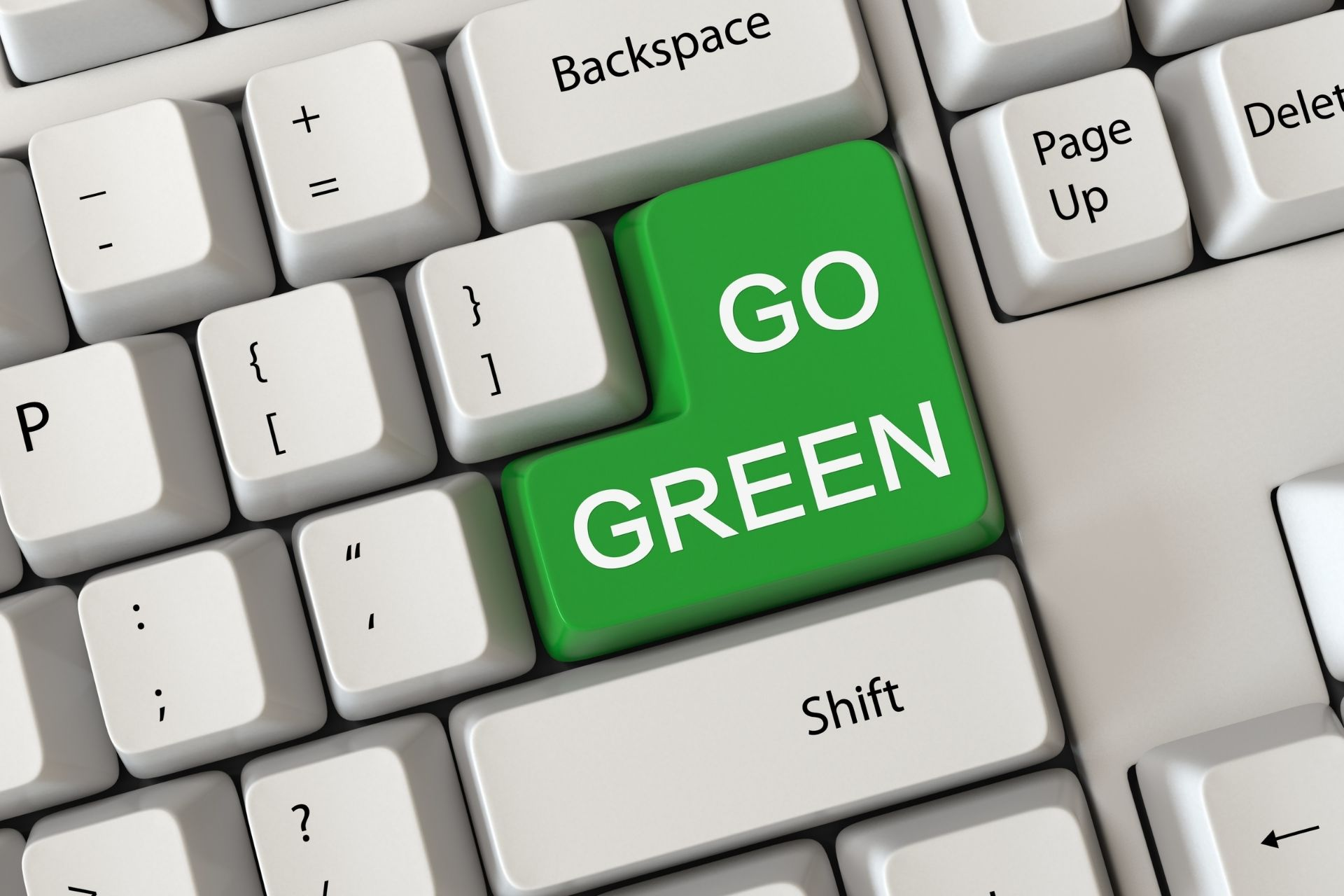 A computer keyboard with GO GREEN instead of Enter key