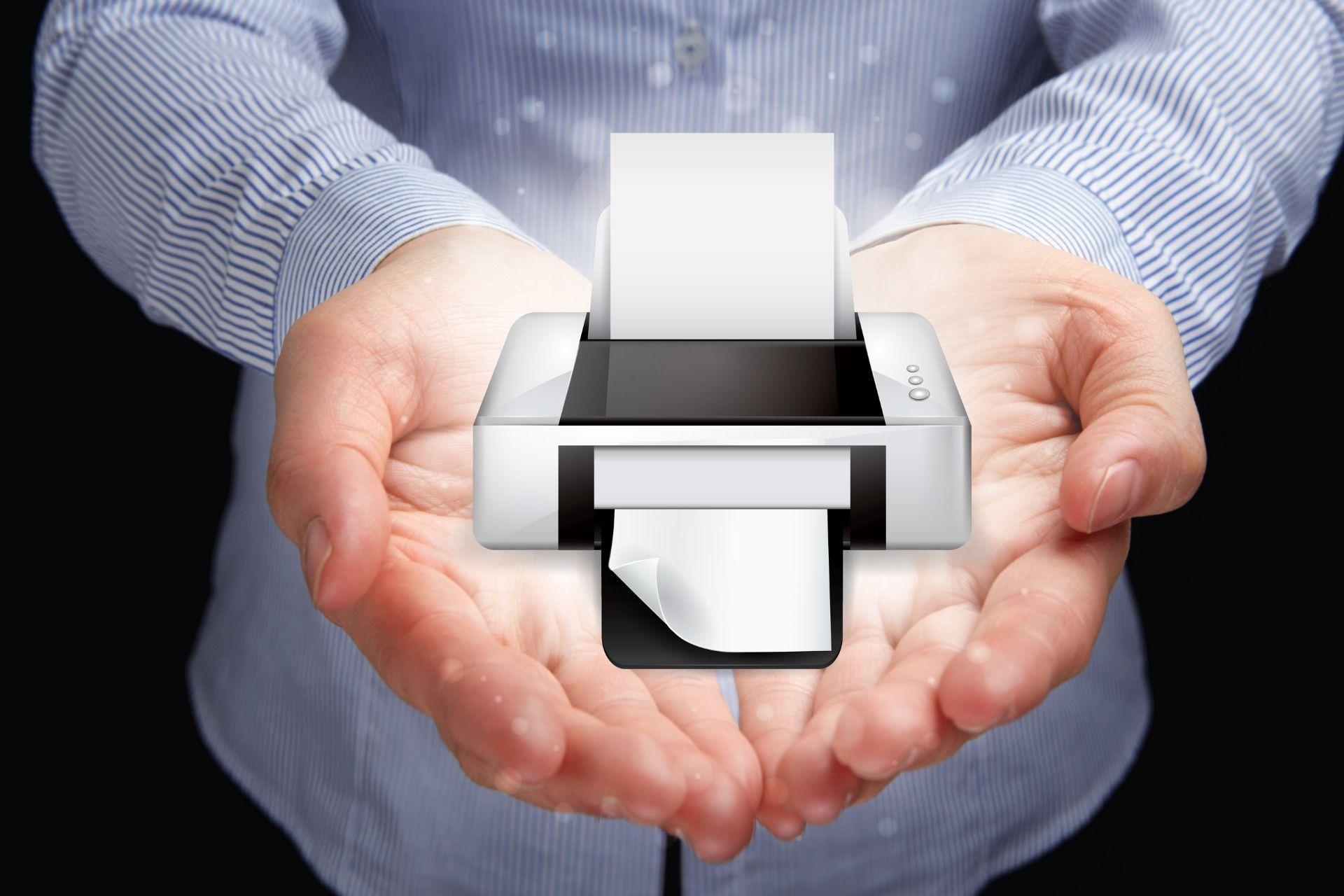 A person holding a printer icon