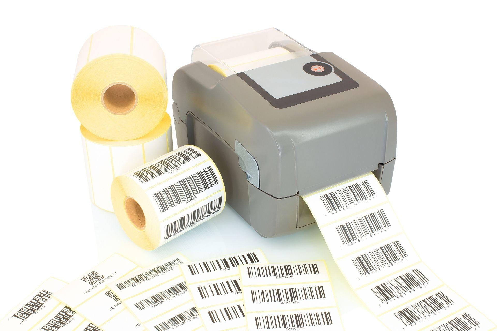 A thermal printer printing labels